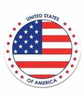 Feest sticker met amerikaanse vlag