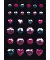Feest stickers met roze en zilveren strass steentjes