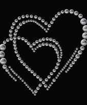 Feest stickers strass dubbel hart