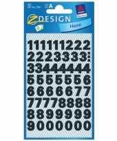 Feest stickervel cijfers zwart 9 mm 1220 stuks
