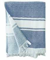 Feest strandlaken badlaken hammam blauw wit chevron 90 x 160 cm