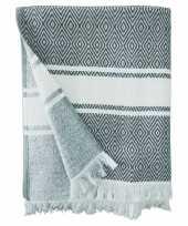Feest strandlaken badlaken hammam grijs wit chevron 90 x 160 cm