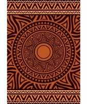 Feest strandlaken badlaken xl mandala bruin oranje zaka 140 x 200 cm