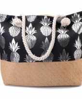 Feest strandtas ananas zwart zilver 54 cm