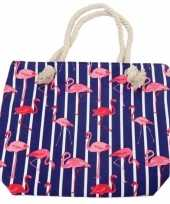 Feest strandtas flamingo strepen blauw 43 cm