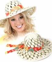 Feest stro hoeden met stoffen band dames