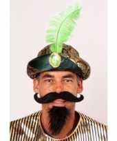 Feest sultan muts met groene veer