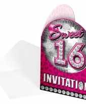 Feest sweet 16 uitnodigingskaarten 8 stuks