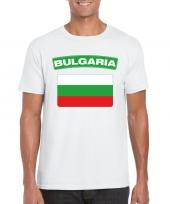 Feest t-shirt met bulgaarse vlag wit heren