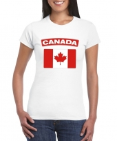 Feest t-shirt met canadese vlag wit dames