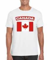 Feest t-shirt met canadese vlag wit heren