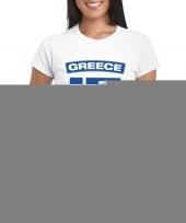 Feest t-shirt met griekse vlag wit dames
