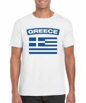 Feest t-shirt met griekse vlag wit heren