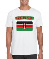 Feest t-shirt met keniaanse vlag wit heren