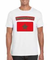 Feest t-shirt met marokkaanse vlag wit heren