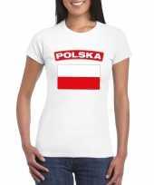 Feest t-shirt met poolse vlag wit dames