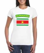 Feest t-shirt met surinaamse vlag wit dames