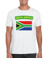 Feest t-shirt met zuid afrikaanse vlag wit heren