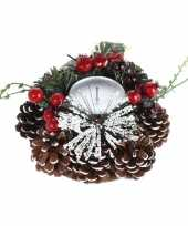 Feest tafel kerstdecoratie kaarsenstandaard 17 cm