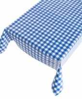 Feest tafelkleed pvc blauwe ruit 140 x 240 cm
