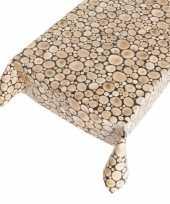 Feest tafelkleed pvc houten blokken 140 x 240 cm