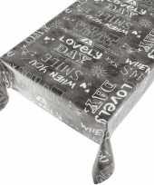 Feest tafelkleed pvc kitch antraciet 140 x 170 cm