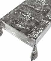 Feest tafelkleed pvc kitch antraciet 140 x 240 cm