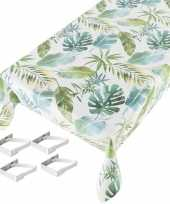 Feest tafelkleed tafelzeil botanische print 140 x 245 cm met 4 klemmen
