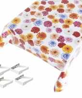 Feest tafelkleed tafelzeil gerbera motief 140 x 245 cm met 4 klemmen