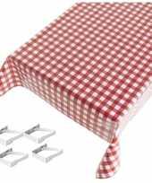 Feest tafelkleed tafelzeil rode ruiten 140 x 240 cm met 4 klemmen