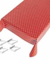 Feest tafelkleed tafelzeil rood polkadot 140 x 245 cm met 4 klemmen