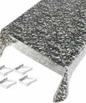 Feest tafelkleed tafelzeil stenen motief 140 x 245 cm met 4 klemmen