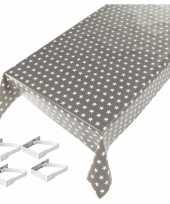 Feest tafelkleed tafelzeil sterren grijs 140 x 240 cm met 4 klemmen