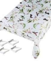 Feest tafelkleed tafelzeil vogel motief 140 x 245 cm met 4 klemmen