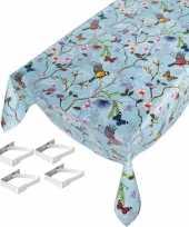 Feest tafelkleed tafelzeil vogel vlinder 140 x 245 cm met 4 klemmen
