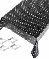 Feest tafelkleed tafelzeil zwart polkadot 140 x 170 cm met 4 klemmen