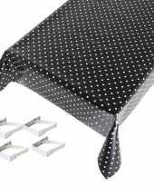Feest tafelkleed tafelzeil zwart polkadot 140 x 245 cm met 4 klemmen