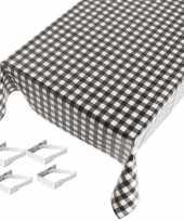 Feest tafelkleed tafelzeil zwarte ruiten 140 x 240 cm met 4 klemmen