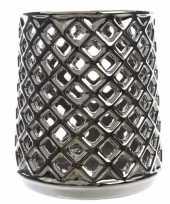 Feest theelichthouder zilver met uitsnede