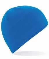 Feest thermo microfleece muts blauw voor dames