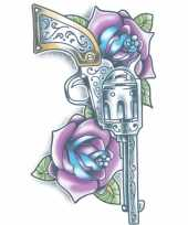 Feest tijdelijke tatoeage gekleurde revolver