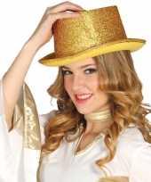 Feest top hat goud met glitters