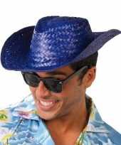 Feest toppers blauwe cowboy strohoed voor volwassenen