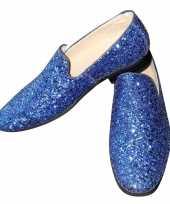 Feest toppers blauwe glitter disco instap schoenen voor heren