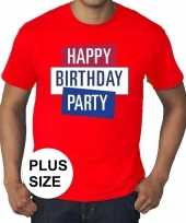Feest toppers grote maten rood toppers happy birthday party t-shirt officieel