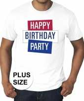 Feest toppers grote maten wit toppers happy birthday party t-shirt officieel
