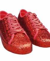 Feest toppers rode glitter disco sneakers schoenen voor dames