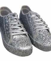Feest toppers zilveren glitter disco sneakers schoenen voor dames