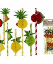 Feest tropische fruit rietjes 8 stuks