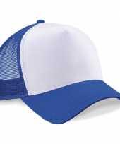 Feest truckerspetje kobalt blauw wit